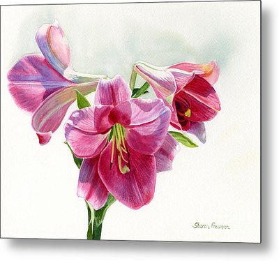Bright Rose Colored Lilies Metal Print