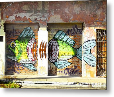 Brightly Colored Fish Mural Metal Print