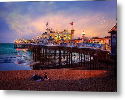 Metal Print featuring the photograph Brighton's Palace Pier At Dusk by Chris Lord