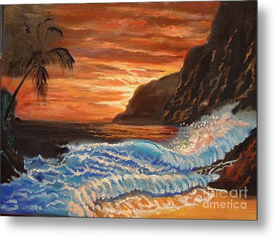 Brilliant Hawaiian Sunset 1 Metal Print by Jenny Lee