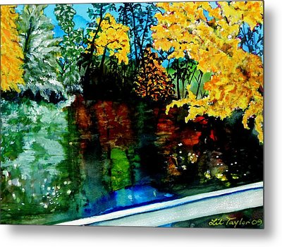 Metal Print featuring the painting Brilliant Mountain Colors In Reflection by Lil Taylor