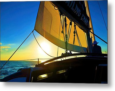 Metal Print featuring the photograph Brilliant Sunset Sail by Pamela Blizzard