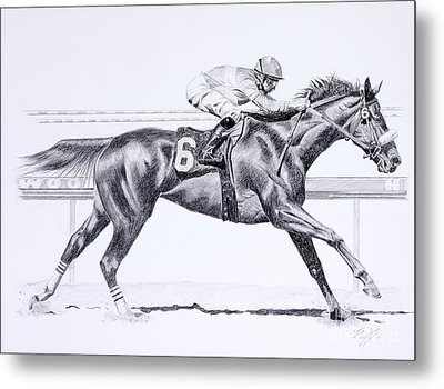 Bring On The Race Zenyatta Metal Print by Joette Snyder