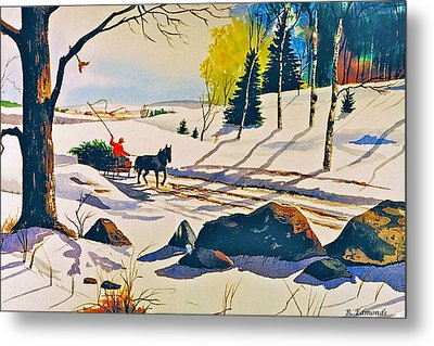 Bringing Home The Tree Metal Print by Raymond Edmonds