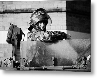 British Army Soldier In Hatch Of Armoured Land Rover On Crumlin Road At Ardoyne Shops Belfast 12th J Metal Print