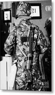 British Army Soldier In Riot Gear With Sa80 And Fire Extinguisher On Crumlin Road At Ardoyne Shops B Metal Print