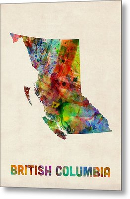British Columbia Watercolor Map Metal Print by Michael Tompsett