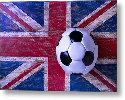 British Flag And Soccer Ball Metal Print by Garry Gay