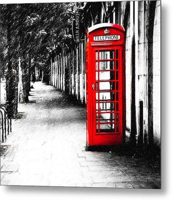 British Red Telephone Box From London Metal Print