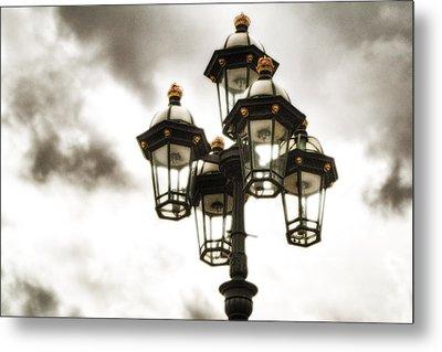 British Street Lamp Against Cloudy Sky Metal Print