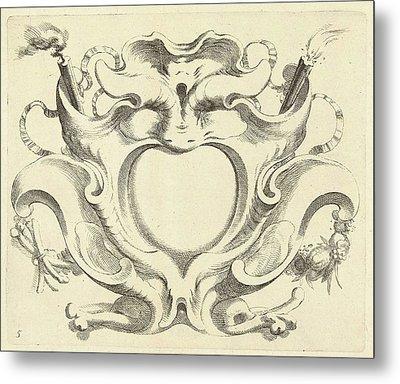 Broad Lobe Cartridge With Heart-shaped Compartment Metal Print by Johannes Lutma (ii)