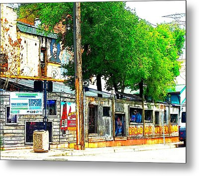Broadway Oyster Bar With A Boost Metal Print by Kelly Awad