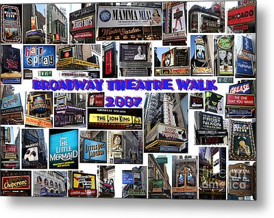 Metal Print featuring the digital art Broadway Theatre Walk 2007 Collage by Steven Spak