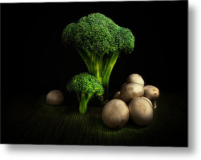Broccoli Crowns And Mushrooms Metal Print