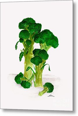 Broccoli Stalks Bright And Green Fresh From The Garden Metal Print