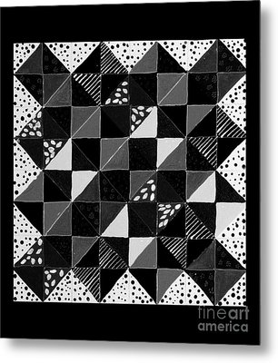 Broken Dishes - Quilt Pattern - Painting 4 Metal Print