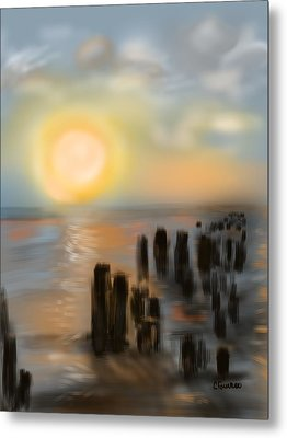 Metal Print featuring the digital art Broken Dock by Christine Fournier