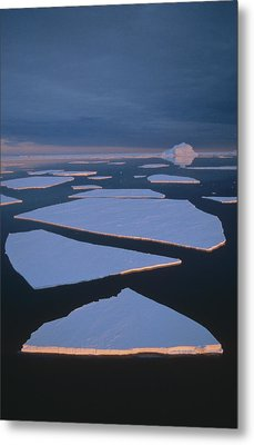 Broken Fast Ice Under Midnight Sun East Metal Print by Tui De Roy