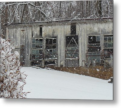 Broken Windows In The Snow Metal Print by Sharon Costa