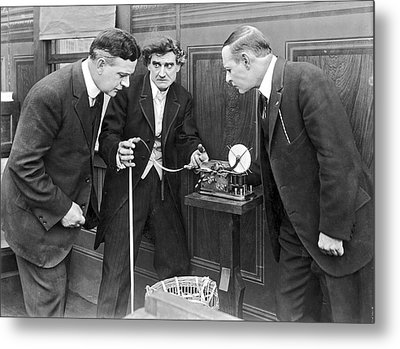 Brokers Checking Ticker Tape Metal Print by Underwood Archives