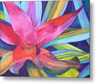 Metal Print featuring the painting Bromeliad Pink by Margaret Saheed
