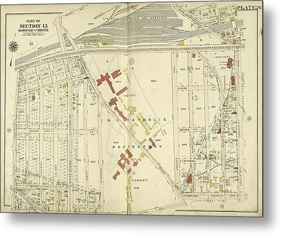 Bronx, V. 3, Double Page Plate No. 26 Map Bounded By West Metal Print by Litz Collection