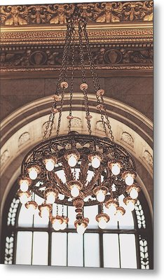 Bronze Chandelier Metal Print by Heather Green