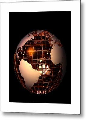 Metal Print featuring the digital art Bronze Globe... by Tim Fillingim