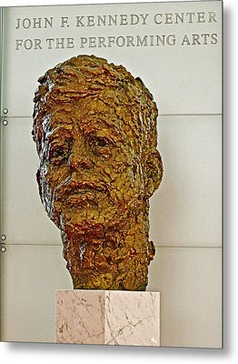 Bronze Sculpture Of President Kennedy In The Kennedy Center In Washington D C  Metal Print by Ruth Hager