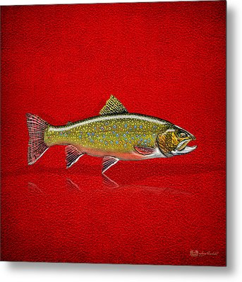 Brook Trout On Red Leather Metal Print by Serge Averbukh