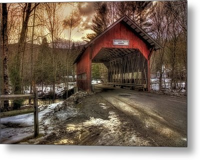 Brookdale Covered Bridge - Stowe Vt Metal Print by Joann Vitali