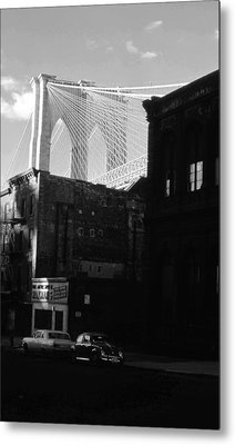 Metal Print featuring the photograph Brooklyn Bridge 1970 by John Schneider
