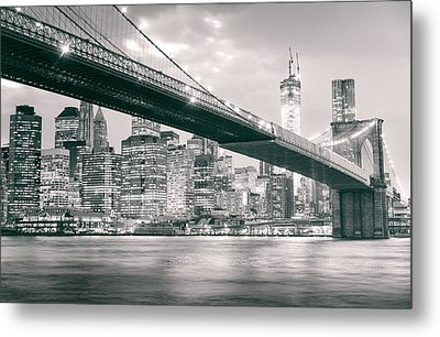Brooklyn Bridge And New York City Skyline At Night Metal Print by Vivienne Gucwa