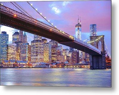 Brooklyn Bridge And New York City Skyscrapers Metal Print by Vivienne Gucwa