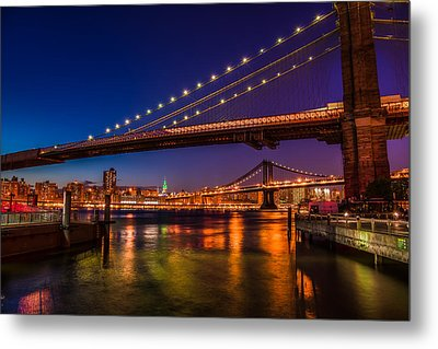 Metal Print featuring the photograph Brooklyn Bridge At Night by Chris McKenna
