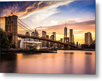 Brooklyn Bridge At Sunset  Metal Print by Mihai Andritoiu