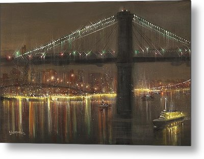 Brooklyn Bridge Cruciform Metal Print by Tom Shropshire