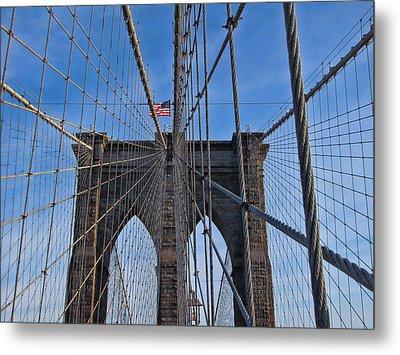 Metal Print featuring the photograph Brooklyn Bridge by David Gleeson