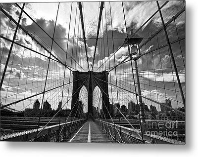 Brooklyn Bridge Metal Print by Delphimages Photo Creations