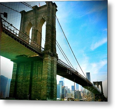 Brooklyn Bridge Glow Metal Print by Frank Winters