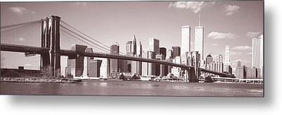 Brooklyn Bridge, Hudson River, Nyc, New Metal Print