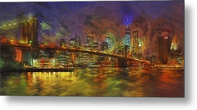 Brooklyn Bridge Impressionism Metal Print by Susan Candelario