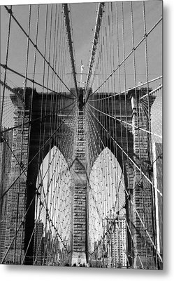 Metal Print featuring the photograph Brooklyn Bridge by Lorella  Schoales