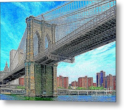 Brooklyn Bridge New York 20130426 Metal Print by Wingsdomain Art and Photography