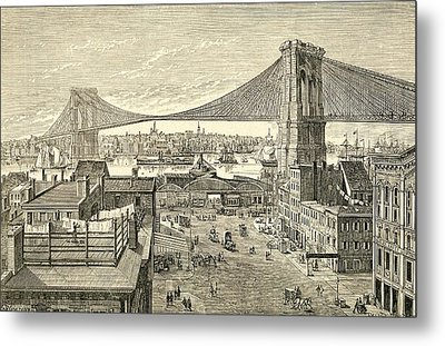 Brooklyn Bridge, New York, United States Of America In The 19th Century Metal Print by American School