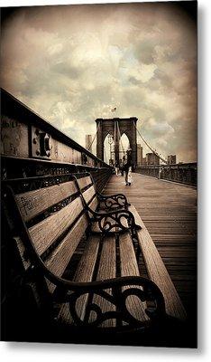 Brooklyn Bridge Respite Metal Print by Jessica Jenney