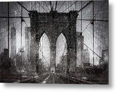 Brooklyn Bridge Snow Day Metal Print
