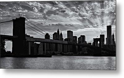 Brooklyn Bridge Sunset Bw Metal Print