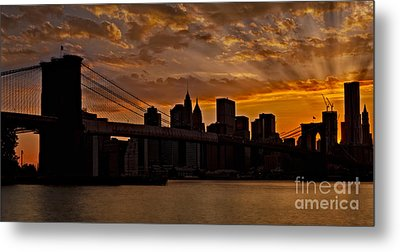 Brooklyn Bridge Sunset Metal Print by Susan Candelario