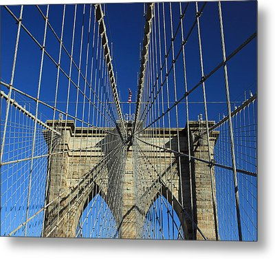 Metal Print featuring the photograph Brooklyn Bridge Tower by Jose Oquendo